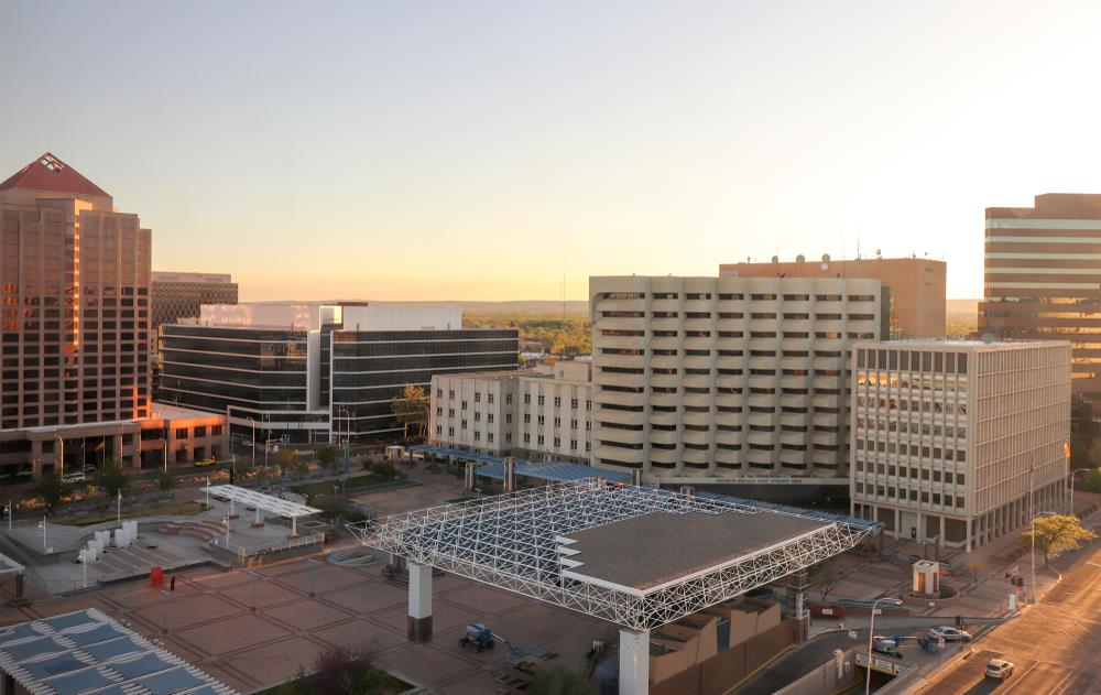 View of Downtown Albuquerque skyline, Civic Plaza, offices and government buildings