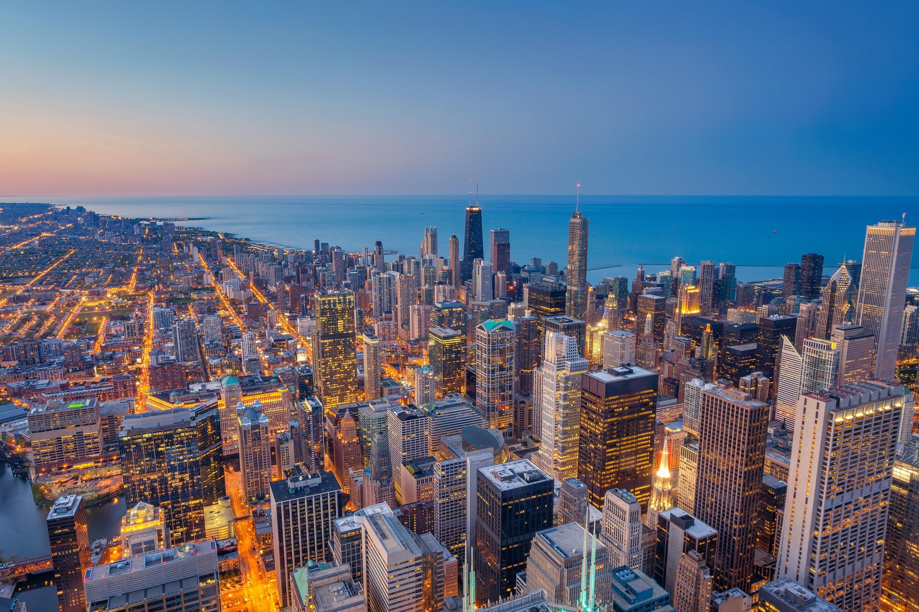 Cityscape image of Chicago downtown during twilight blue hour