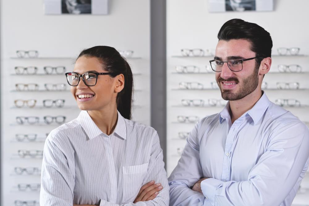 optometry team members working together in their practice