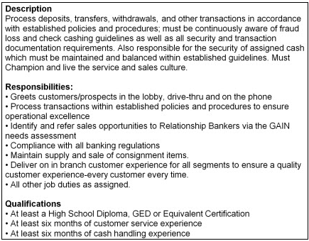 Example job description for a bank teller