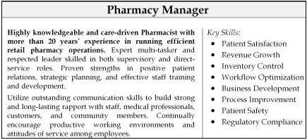 Example of a summary paragraph and core competencies section from a pharmacist resume