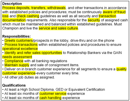 Bank teller job description with keywords highlighted