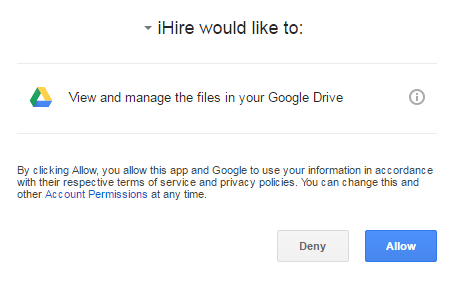Google Drive upload screen