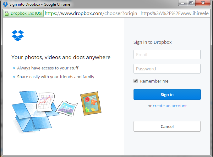 Dropbox upload screen