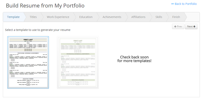 Build a resume from the iHire portfolio
