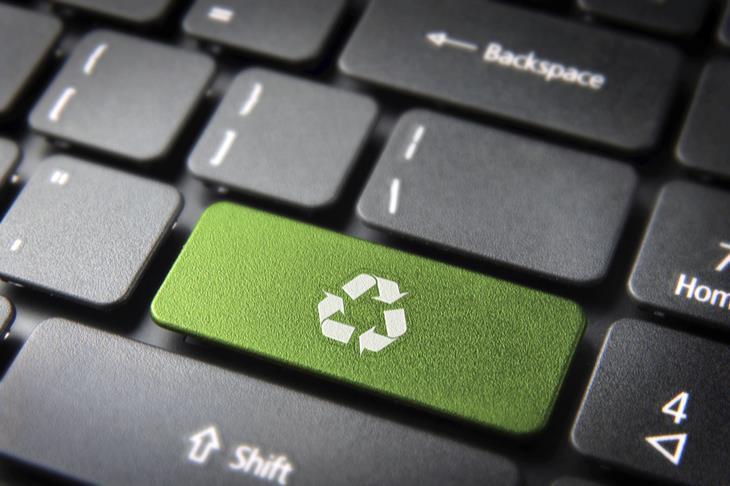 recycling symbol on keyboard