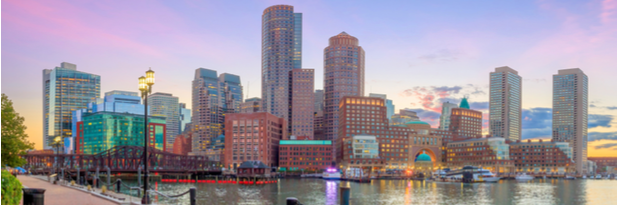 Photograph of the Boston skyline at sunset