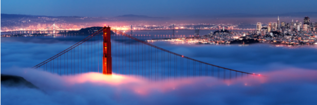 Photograph of San Francisco skyline and the Golden Gate Bridge in the fog