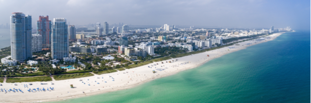 Photograph of Miami beach and the shoreline