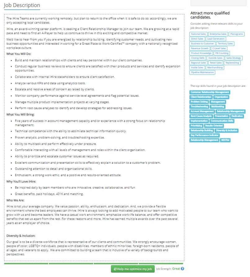 Job Description - Example 2