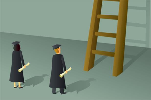 two recent college graduates staring up at the career ladder