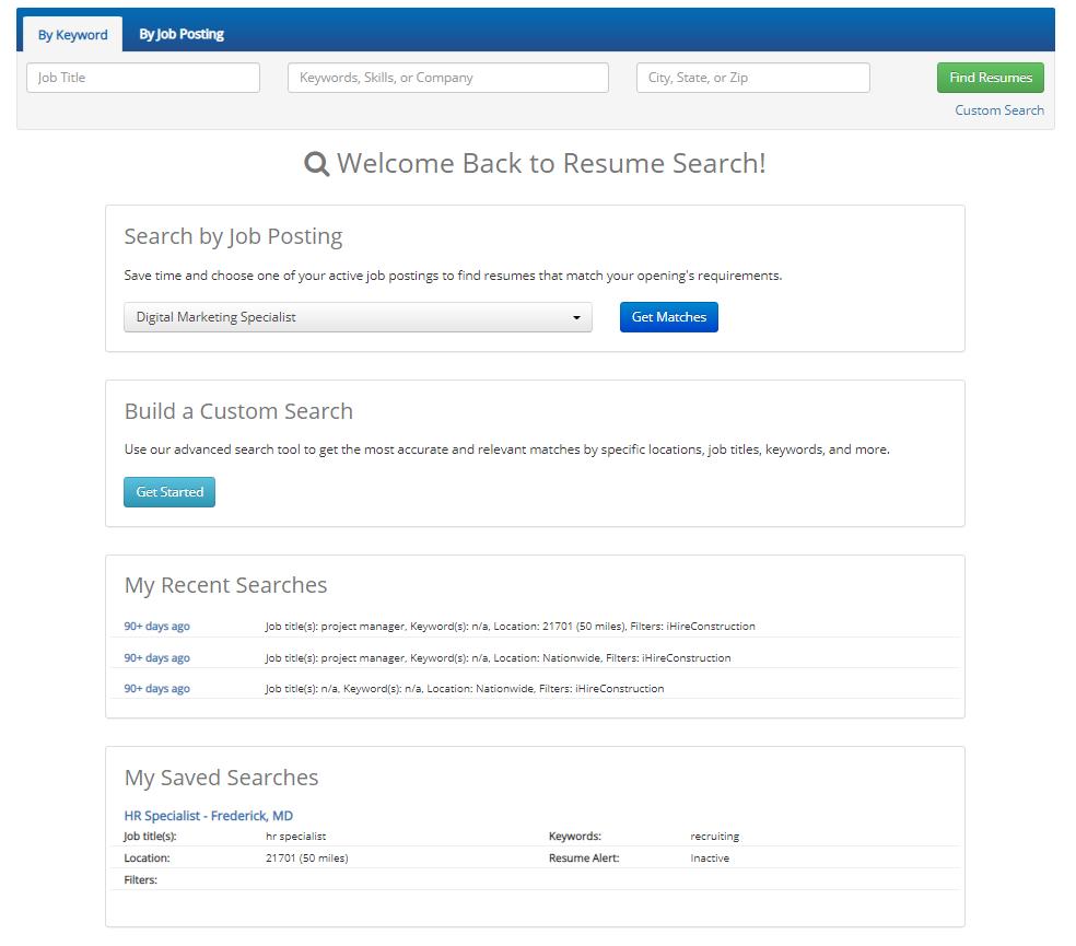 iHire's Resume Search Dashboard