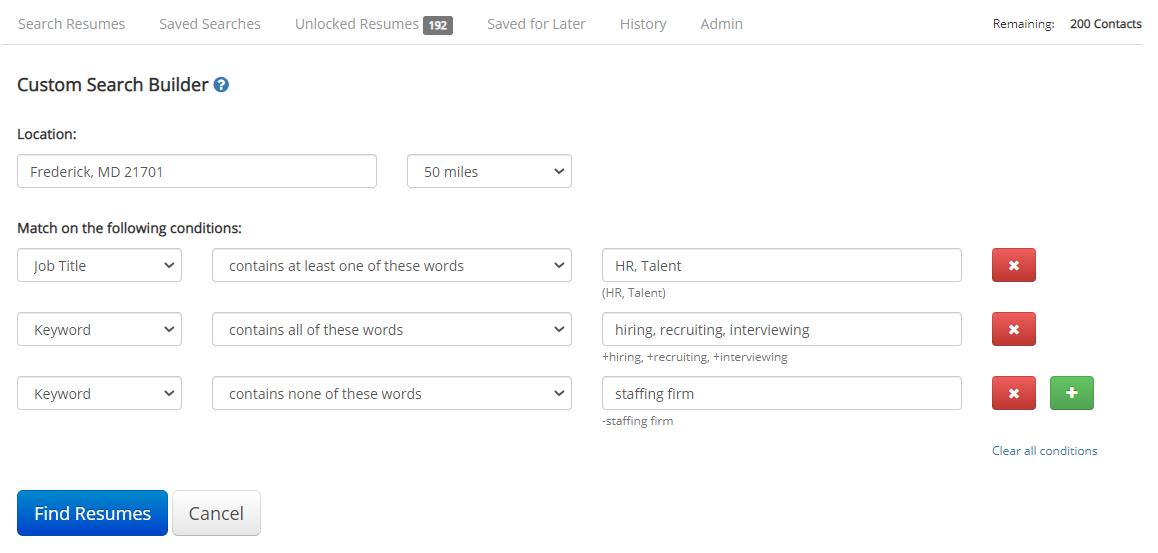 iHire's Custom Search Builder