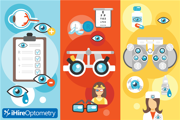 Graphic showing different optometry jobs and job seekers. Illustration