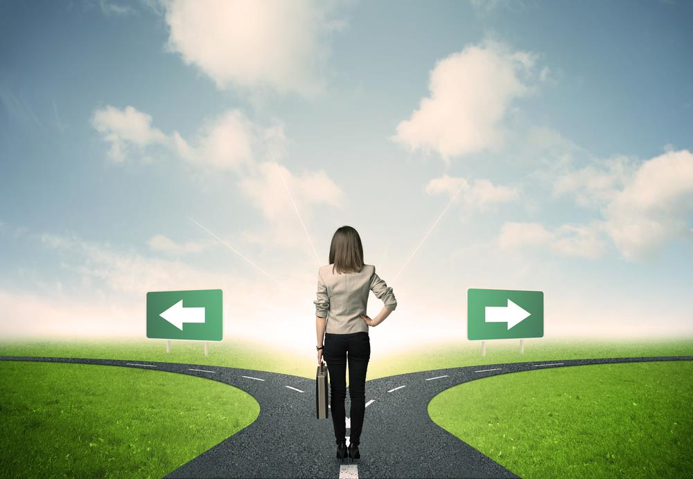 female job seeker deciding which career path to take