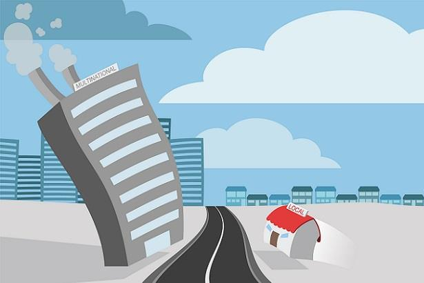 Cartoon image of large skyscraper and small building representing conflict between corporations and small businesses