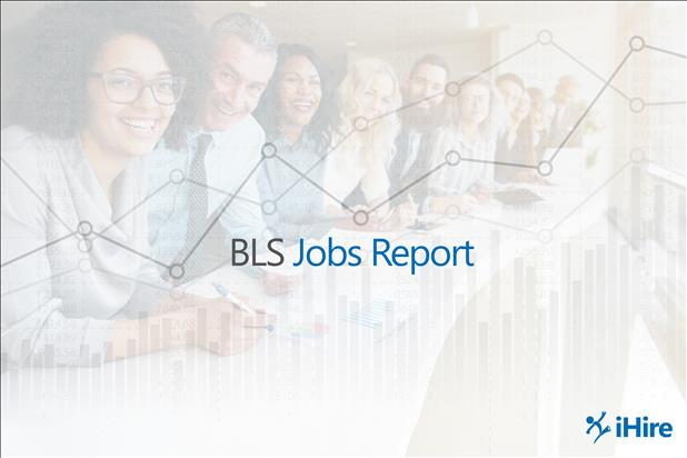 Group of smiling professionals with BLS jobs report and graph superimposed over image