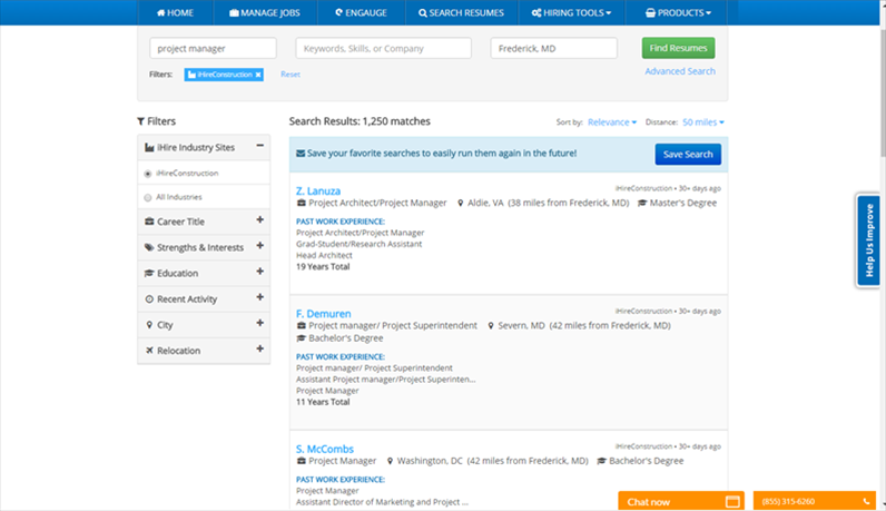 An example of iHire's industry-focused search experience.