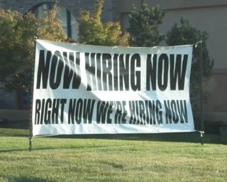 Large banner promoting company's open positions