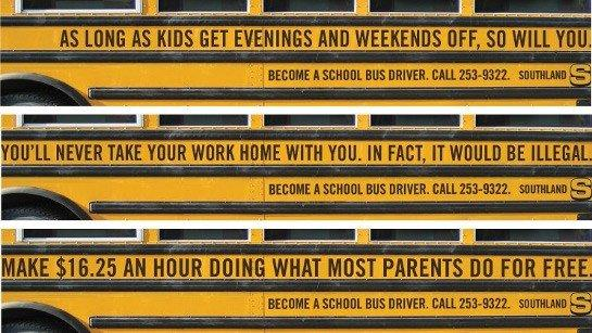 Job ad on side of a school bus