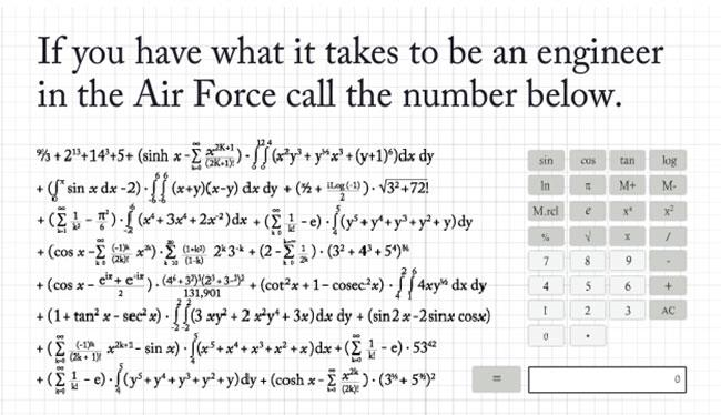 Engineer job ad requiring applicants to solve complex equation