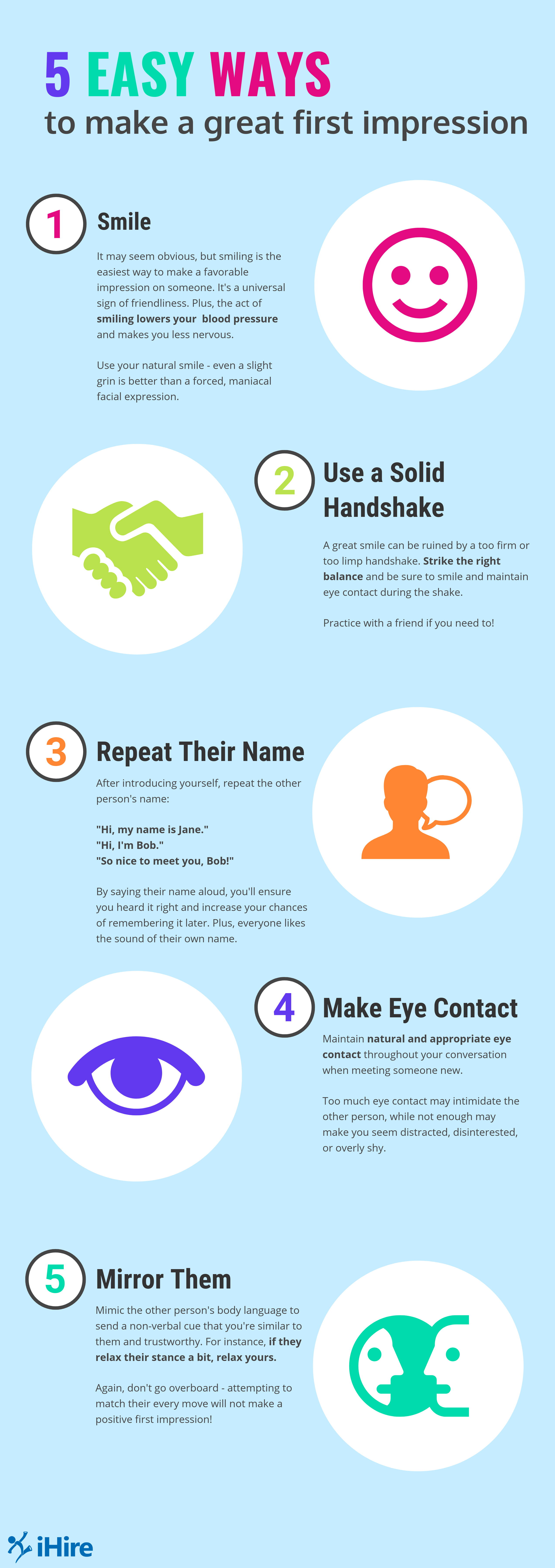 ihire infographic 5 easy ways to make a great first impression