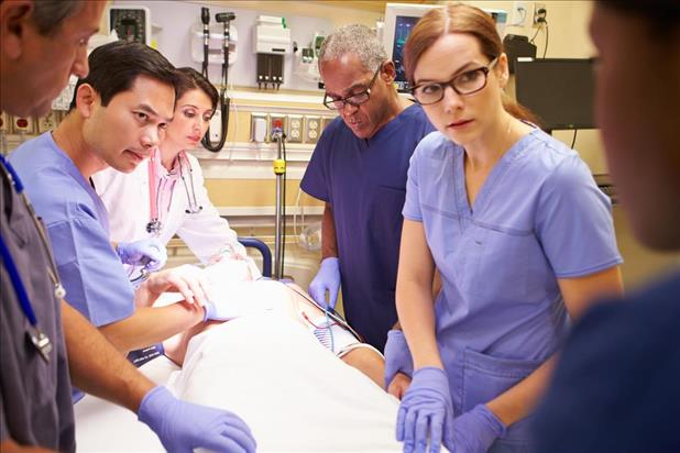 Nurses working in emergency room
