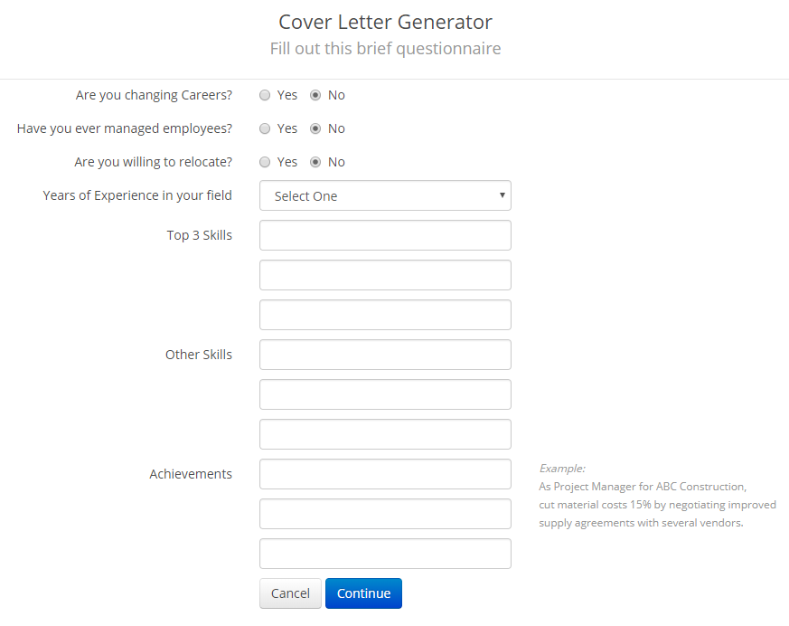 Cover Letter Generator Snippet #2