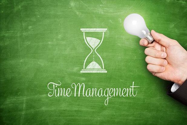"Blackboard with picture of an hour glass and ""time management"" written on it"