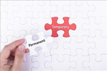 Puzzle piece depicting how a temporary job can become permanent