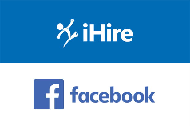 Corporate logos of iHire and Facebook on blue and white background