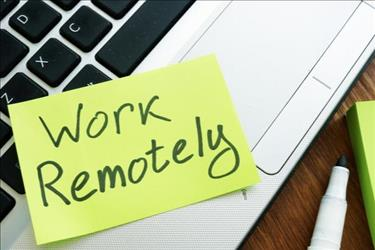 post-it note that says work remotely