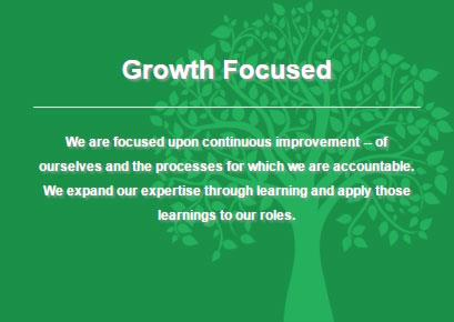 Definition of iHire's core value: growth focused