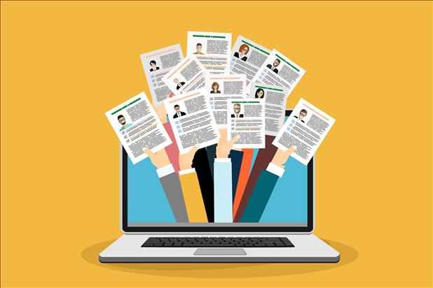 vector illustration of many resumes on a computer screen