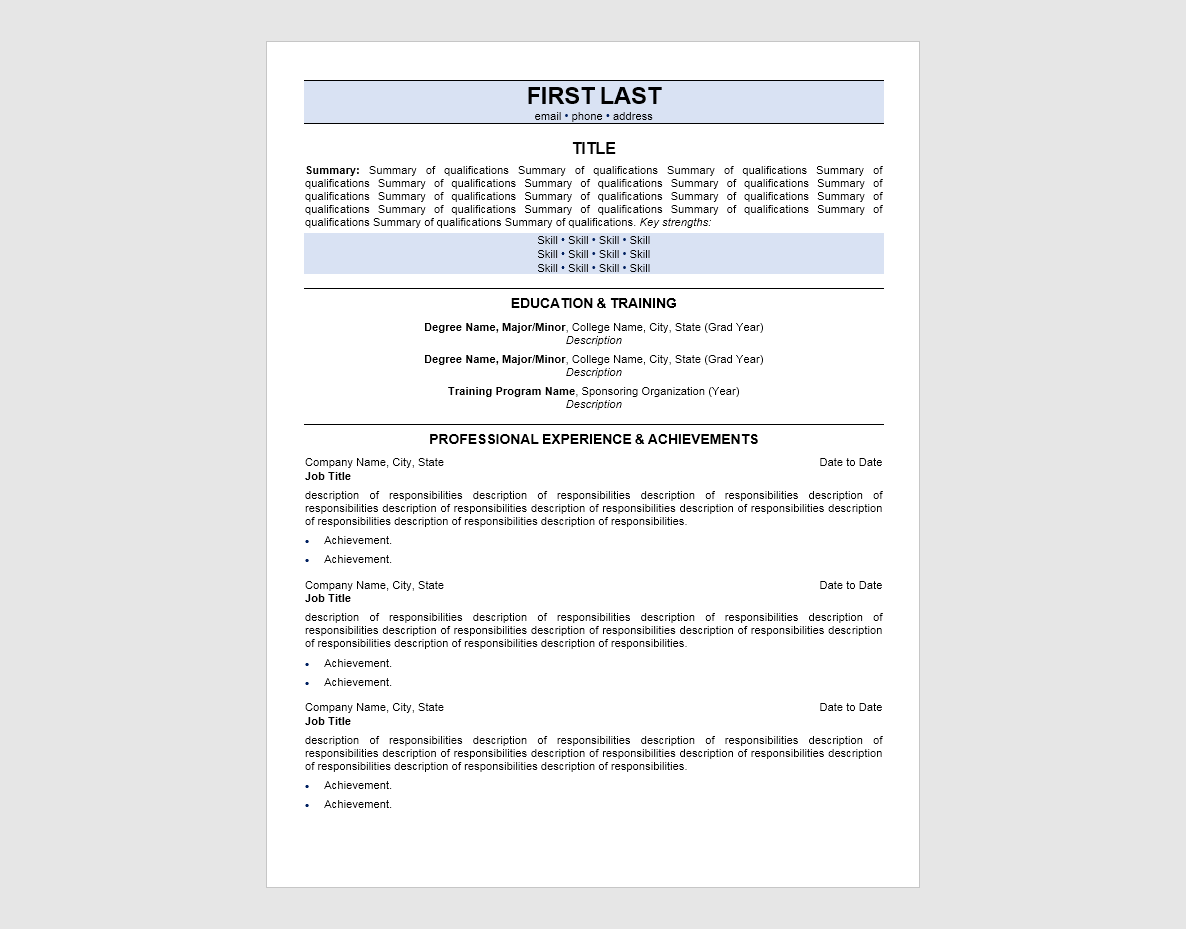 Screenshot of iHire's entry-level resume template