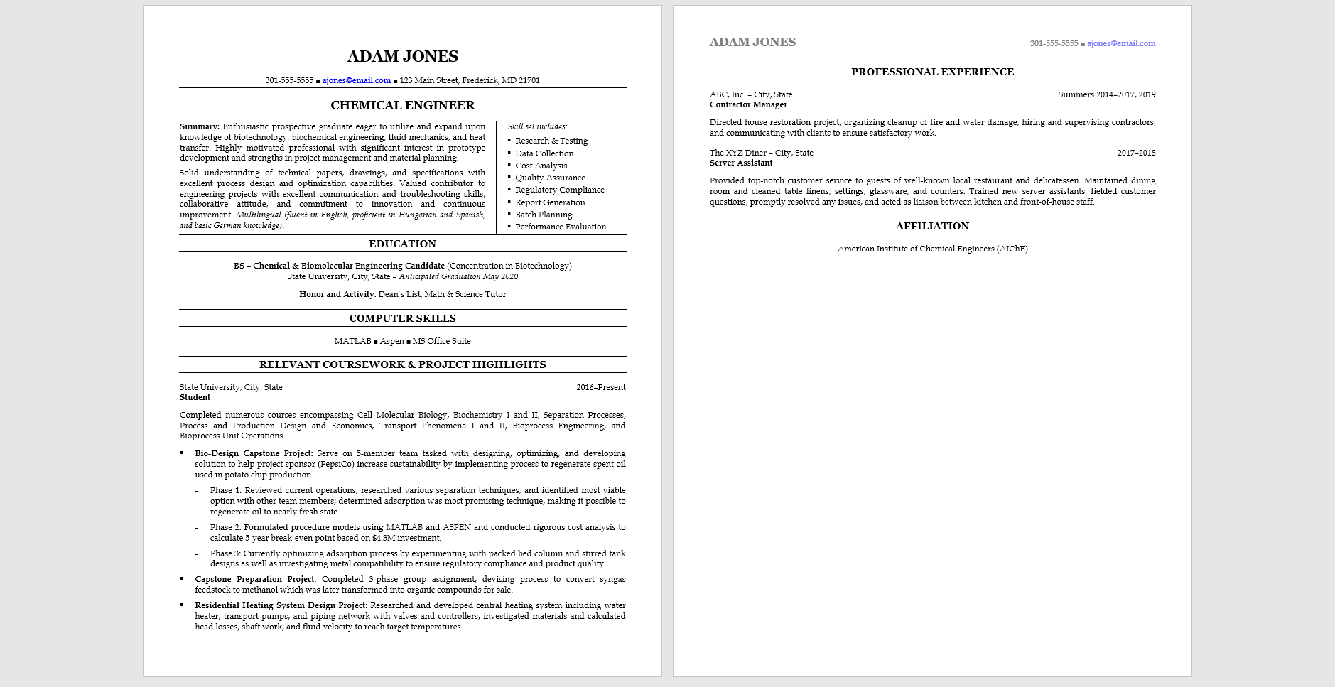 Sample resume focused on school projects