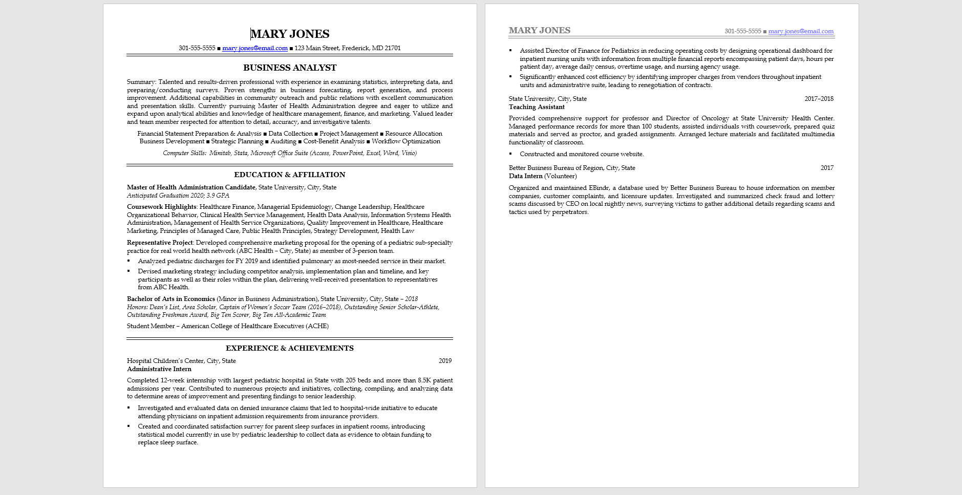 Sample resume using a combination of strategies