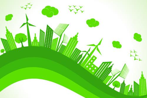 Abstract image showing skyscrapers and windmills representing the green revolution