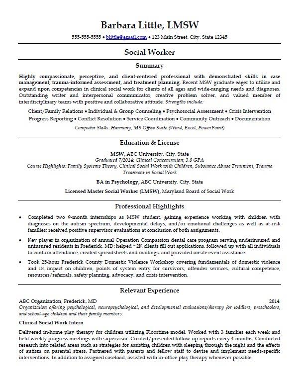 ihire hybrid resume example for a social worker