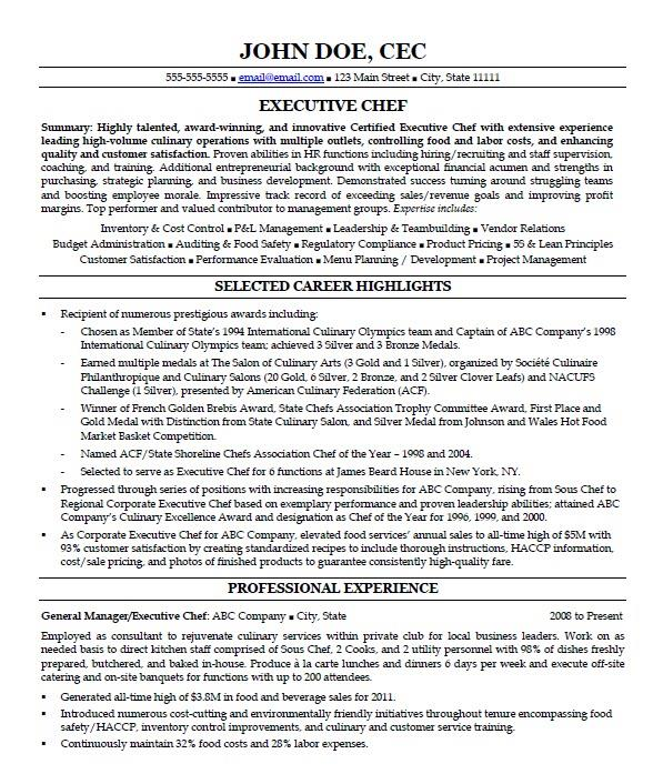 ihire hybrid resume example for an executive chef