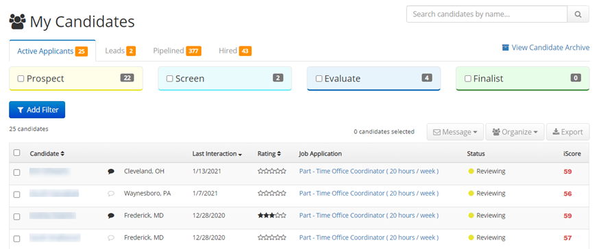 Candidate Management on iHire