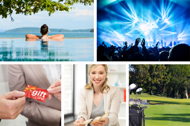 Employee reward options include spa days, concerts, gift cards, cash, or even golf clubs