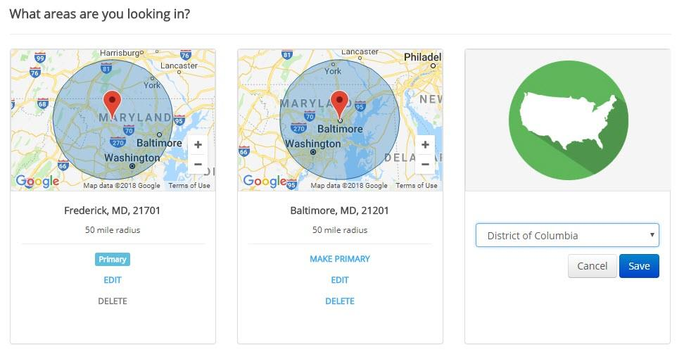 screen shot of ihire's new multiple location job search state option