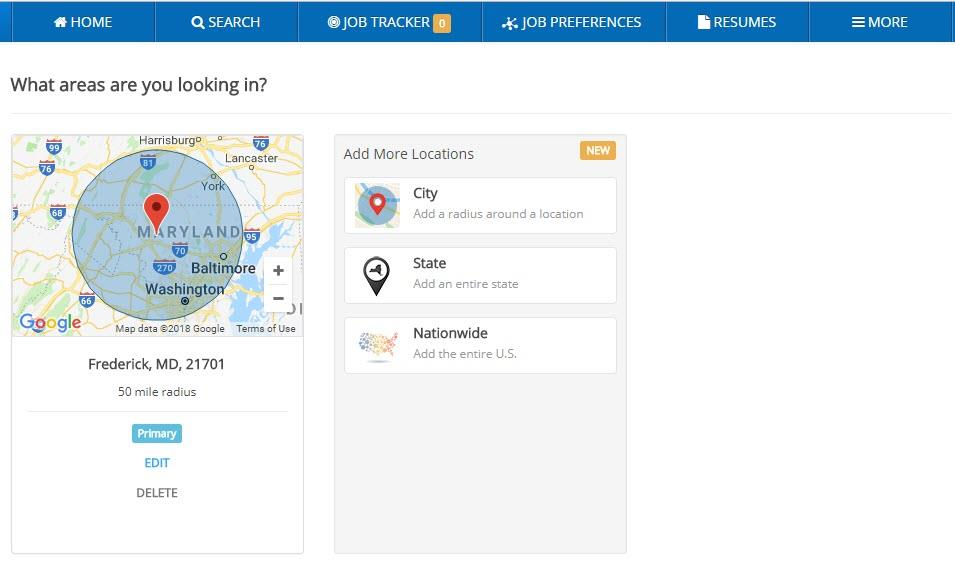 screen shot of ihire's new multiple location job search options