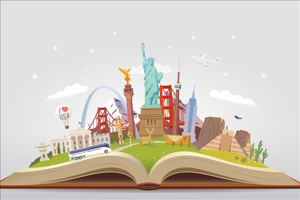 vector illustration of united states landmarks on an open book