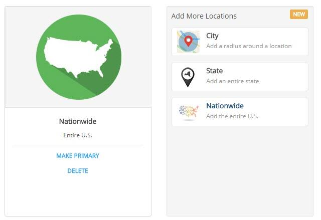 screen shot of ihire's new multiple location job search nationwide option