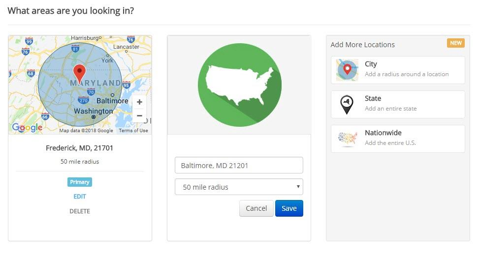 screen shot of ihire's new multiple location job search city and radius option
