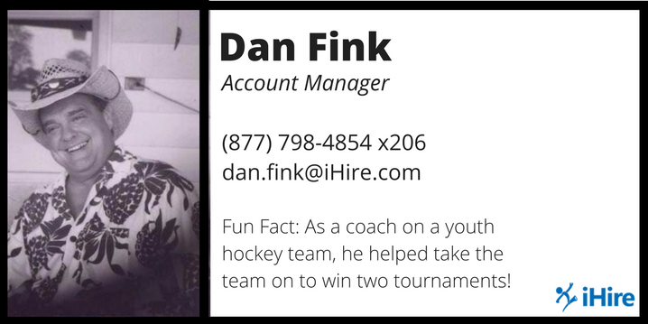 dan fink ihire account manager business card