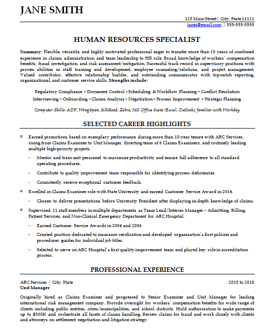 Hybrid resume sample for career change page one