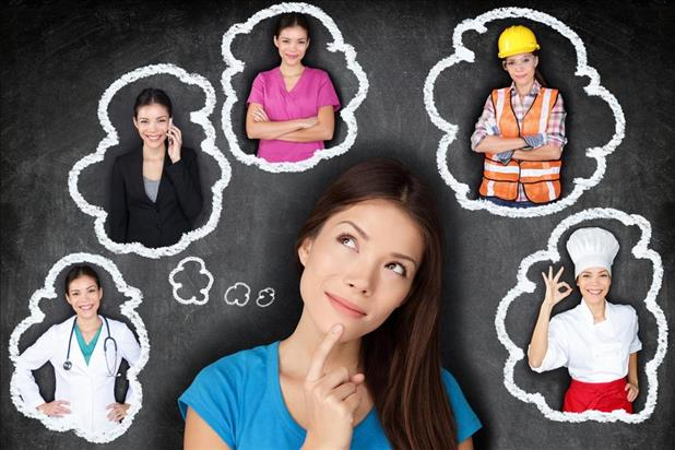 woman thinking about her career with images of herself in different jobs within illustrated thought bubbles